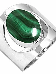 cheap -natural malachite women jewelry 925 sterling silver ring size 9