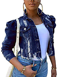 cheap -denim jacket for women distressed long sleeve jean jackets
