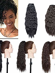 "cheap -fashion hair scrunchie hair piece wavy elastic updo scrunchy bun corn wave instant ponytail extension wig hairdo drawstring - dark black(18"" inch/45cm)"