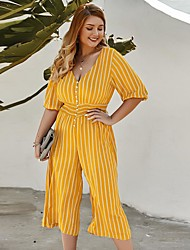 cheap -Women's Casual / Daily Jumpsuit Stripes Printing