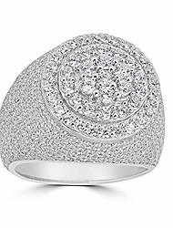 cheap -solid 925 sterling silver men's ring iced out ring - yellow, rose, or natural silver - icy hip hop round cluster ring (7)