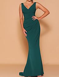 cheap -Sheath / Column V Neck Floor Length Chiffon Bridesmaid Dress with Ruching
