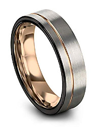cheap -tungsten wedding band ring 7mm for men women 18k rose gold plated flat cut off set line black grey brushed polished size 4