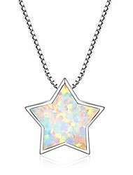 cheap -star necklace, opal lucky star choker necklace minimalist 14k white gold plated dainty cute opal pendant necklace for women girls
