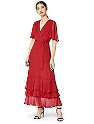 cheap -amazon-marke: truth & fable ladies dress with ruffles, red, 36, label: s