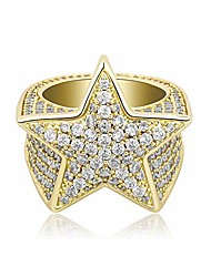 cheap -14k gold or white gold 6 times plated 3d star hip hop iced out lab diamond 5a+ cubic zirconia bling fashion ring for men and women boys jewelry gift (gold 7)