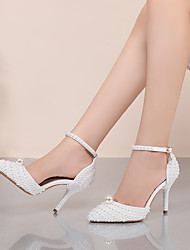 cheap -Women's Wedding Shoes Stiletto Heel Pointed Toe Sexy Classic Minimalism Wedding Party & Evening PU Pearl Imitation Pearl Buckle Polka Dot Solid Colored White