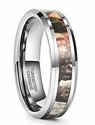 cheap -6mm silver tungsten ring camo inlaid wedding band engagement polished finished size 8