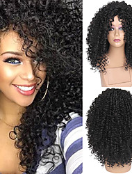 cheap -Synthetic Wig Afro Afro Curly Rihanna Free Part Wig Medium Length Natural Black #1B Synthetic Hair 20 inch Women's Adjustable Heat Resistant Synthetic Black / For Black Women