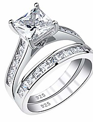 cheap -newshe wedding rings for women engagement ring sets princess 925 sterling silver cz 1.8ct size 6.5