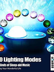 cheap -LED Star Night Light Projector 10 Colour Modes Colour Changing Music Player with Bluetooth Remote Control 360Rotating Ocean Wave Night Lights