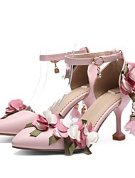 cheap -Women's Heels Stiletto Heel Pointed Toe Sweet Daily PU Floral Solid Colored White Pink
