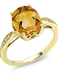 cheap -14k yellow gold yellow citrine and diamond women's engagement ring (2.04 ct oval gemstone birthstone, available 5,6,7,8,9) (size 5)