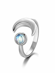 cheap -925 sterling silver natural moonstone ring for women, crescent moon ring with june birthstone adjustable open ring size 5-12 (6)