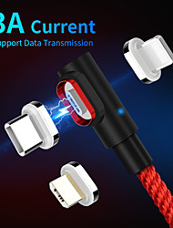 cheap -3A Magnetic 90 Degree Micro USB Cable Type C Fast Charging USB Cable 1m 2m For Samsung Xiaomi Redmi Mobile Phone Lightning Charger Date Line
