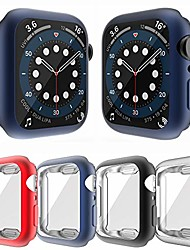 cheap -4 packs case compatible with screen protector For iWatch Apple Watch Series SE / 6/5/4/3/2/1  44 mm 40 mm 38 mm 42mm  all around cover flexible tpu matte bumper frame (red+navy blue+black+silver)