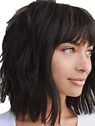 cheap -Human Hair Wig Medium Length Long Wavy With Bangs Natural Women Sexy Lady New Capless Chinese Hair Women's Natural Black #1B 12 inch 14 inch 16 inch