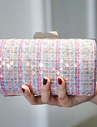cheap -Women's Bags Polyester Evening Bag Pearls Sequin Color Block 2020 Wedding Party Blue Blushing Pink Khaki