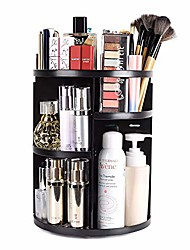 cheap -360 rotating makeup organizer, diy adjustable makeup carousel spinning holder storage rack, large capacity make up caddy shelf cosmetics organizer box, great for countertop, black