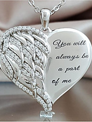cheap -925 sterling silver angel wing heart cremation  pendant necklaces jewelry