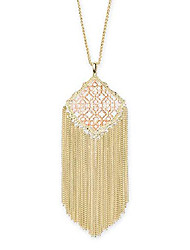 cheap -kingston long pendant fringe necklace for women in mixed metal filigree, fashion jewelry, 14k gold-plated and 14k rose gold-plated