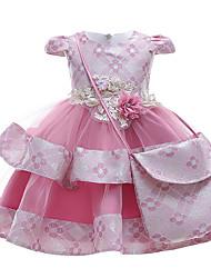 cheap -Kids Little Girls' Dress Jacquard Layered Mesh Bow Blushing Pink Green Gray Midi Short Sleeve Cute Dresses Regular Fit