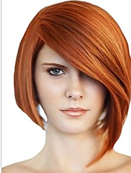 cheap -chemical fiber gold wigs for women short straight hair with oblique bagns hair head resistant wigs for white women 8inch (color : gold)