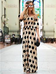 cheap -Women's A-Line Dress Maxi long Dress - Half Sleeve Polka Dot Print Summer Off Shoulder Elegant Party Holiday Loose 2020 Black Yellow Blushing Pink S M L XL XXL