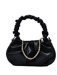 cheap -Women's Bags PU Leather Top Handle Bag Ruched Bag Chain Plain Daily Going out 2021 Handbags Chain Bag White Black Khaki Brown