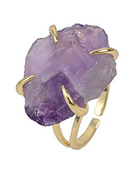 cheap -irregular purple amethyst four-claw adjustable ring for women gemstones jewelry zg0133