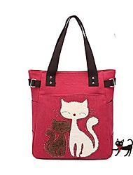 cheap -black friday deals 2017-® cute cat design multifunction women's canvas zipper closure handbag shoulder lunch tote bag with large capacity best gifts for teen girls (red)