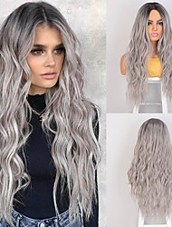 cheap -Long Wavy Synthetic Wigs Grey Blonde Red Black Women Wigs for African American Middle Part Cosplay Wigs