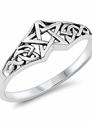 cheap -celtic pentagram band star ring solid 925 sterling silver
