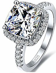 cheap -platinum plated 4 carat princess cut cz simulated diamond wedding engagement proposal ring (silver, 9)
