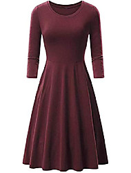 cheap -ladies solid color midi dress knee-length swing 3/4 sleeved dress casual win red 2xl