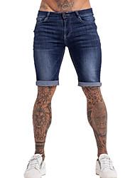 cheap -mens denim shorts elastic waist jeans shorts for men slim fit black 36