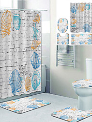 cheap -Wall Painting Printed Bathtub Curtain Liner Covered With Waterproof Fabric Shower Curtain For Bathroom Home Decoration With Hook Floor Mat And Four-piece Toilet Mat