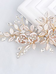 cheap -light rose gold wedding clip rhinestone bridal comb barrette - handmade flower clip head pieces for women