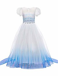 cheap -dress snow queen princess carnival costume snowflake tulle dress christmas disguise birthday party dress 9-10 years