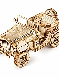 cheap -3d puzzle express steam locomotive wooden puzzle model building - locomotive wooden kit - christmas birthday present for teenagers and adults (army field car)