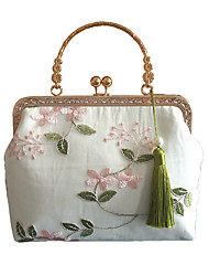 cheap -Women's Bags Polyester Top Handle Bag Lace Pattern / Print Floral Print 2020 Date Going out Blushing Pink Orange Light Green Gray