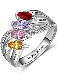 cheap -personalized mothers rings with 4 simulated birthstones womens names mother rings for family (silver, 7)