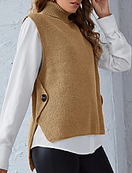 cheap -Women's Stylish Knitted Solid Color Vest Sleeveless Sweater Cardigans Turtleneck Fall Winter Black Blue Purple