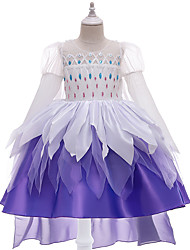 cheap -Princess Flapper Dress Dress Party Costume Girls' Movie Cosplay Cosplay Costume Party White Dress Christmas Children's Day New Year Polyester Organza