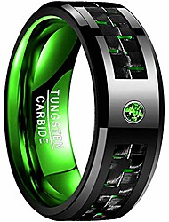 cheap -8mm green carbon tungsten ring black and green carbon fiber inlay tungsten carbide ring engagement wedding band size 10