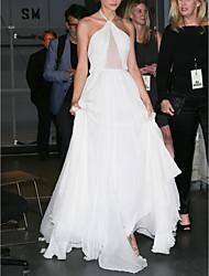 cheap -A-Line Celebrity Style Elegant Prom Formal Evening Dress Halter Neck Sleeveless Sweep / Brush Train Chiffon with Sleek 2021