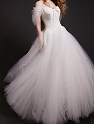 cheap -Ball Gown Wedding Dresses Off Shoulder Floor Length Tulle Short Sleeve Formal Romantic with 2021