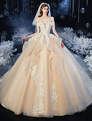 cheap -Ball Gown Wedding Dresses Off Shoulder Court Train Lace Tulle Sleeveless Romantic Luxurious with Embroidery Appliques 2020