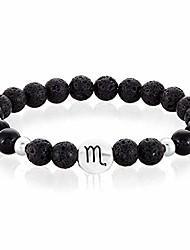 cheap -| crucible scorpio zodiac sign black agate and lava stone beaded stretch bracelet