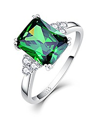 cheap -925 sterling silver green stone cz simulated emerald ring for women size 7
